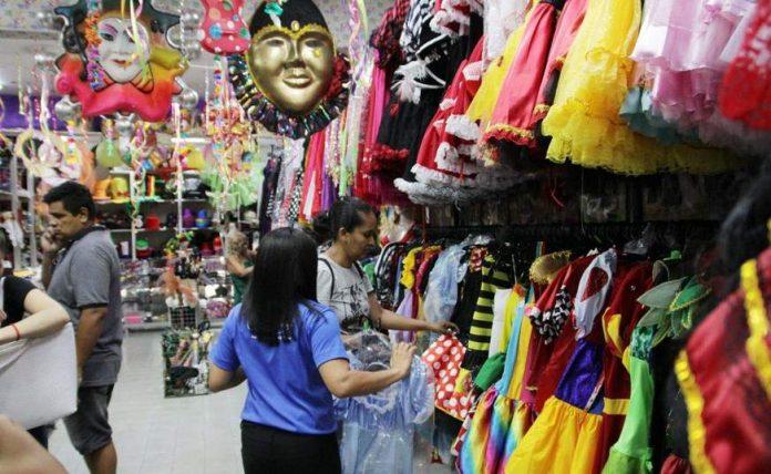 Lojas durante o carnaval